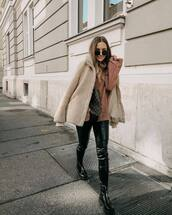 jacket,teddy bear coat,leather pants,black pants,skinny pants,boots,sweater,knitted sweater,round sunglasses
