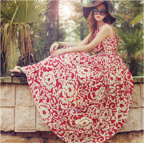 New 2014 Bohemian Floral Dress Was Thin Slim Put On a Large Sand | Amazing Shoes UK