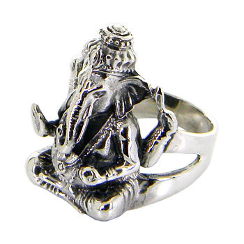 Lord Ganesh Idol Sterling silver ring/ Black door jewelkingthai