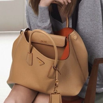 bag prada leather bag brown bag chic