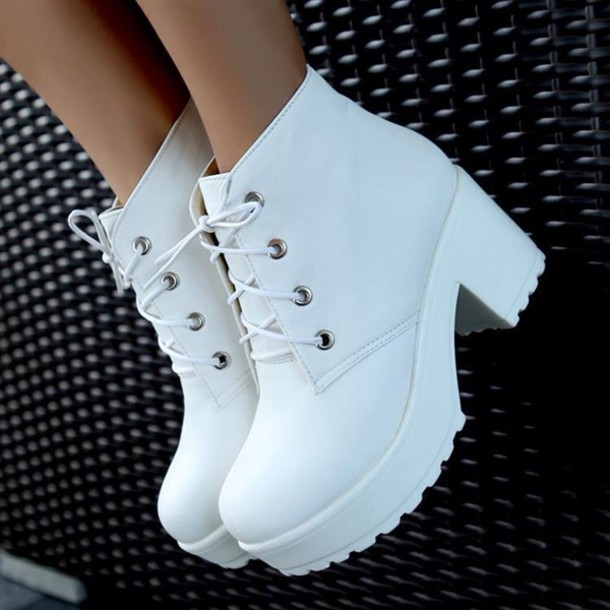 white shoes chunky boots chunky grunge shoes 90s style white boots