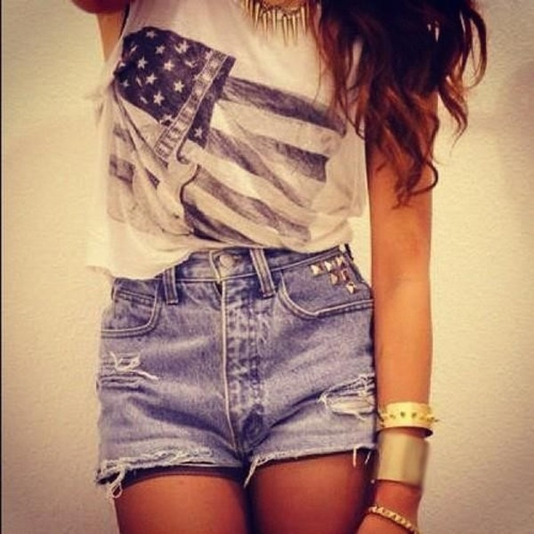shirt jewels t-shirt shorts hipster tumblr clothes blouse flag denim shirt usa flag top