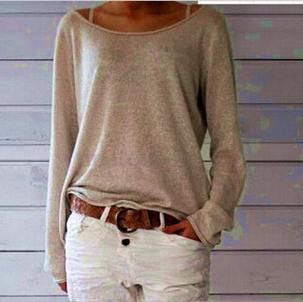 Sweater: women fashion top, knitwear, beige, nude, ivory, knitwear ...
