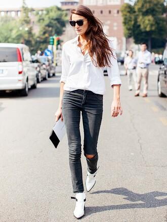 shirt french girl white shirt denim jeans black jeans ripped jeans boots white boots ankle boots sunglasses
