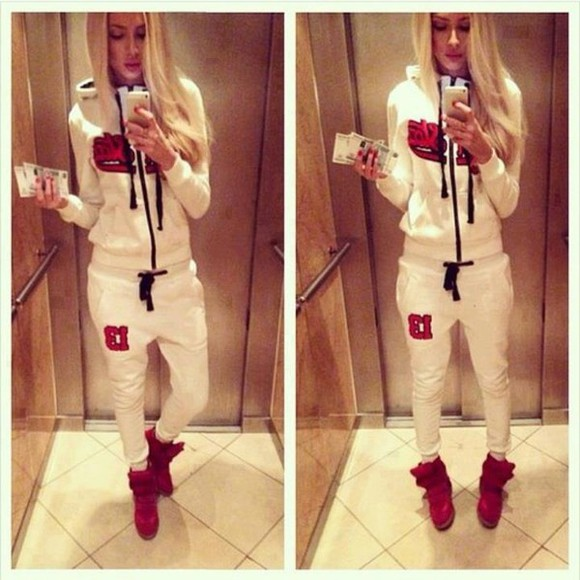 pants blonde girl alena shishkova dress joggingpants sporty style white coat red jogging white white dress tracksuit blonde sweater 13 jacket sweater, pants, alena shishkova, white, dress shoes outfit sweatpants jumpsuit sweatsuit