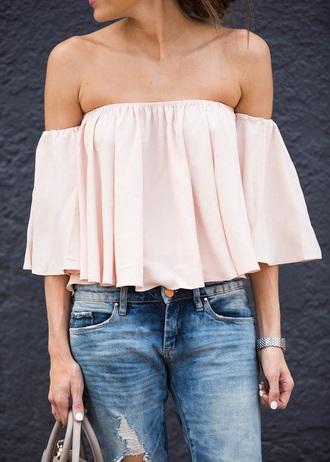 blouse blush pink off the shoulder jeans top blogger