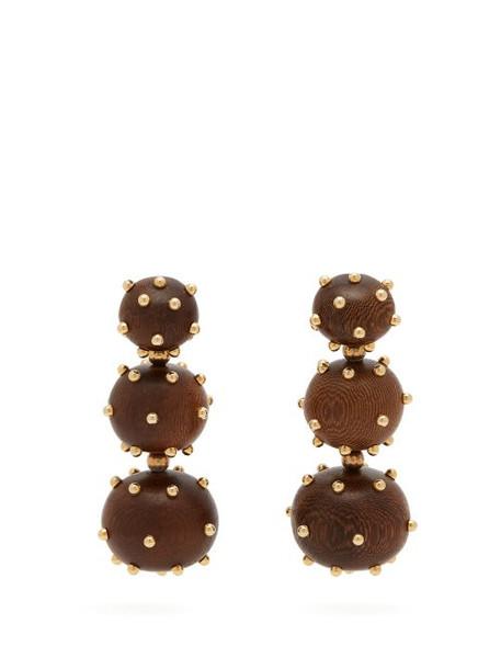Vanda Jacintho - Three Balls Wood Earrings - Womens - Brown