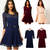 Hot Sale! 2014 New Women Summer Casual Dresses Sexy Spoon Neck 3 Colors 5 Sizes Three Quarter Sleeve Skater Lace Dress With Belt-in Dresses from Apparel & Accessories on Aliexpress.com
