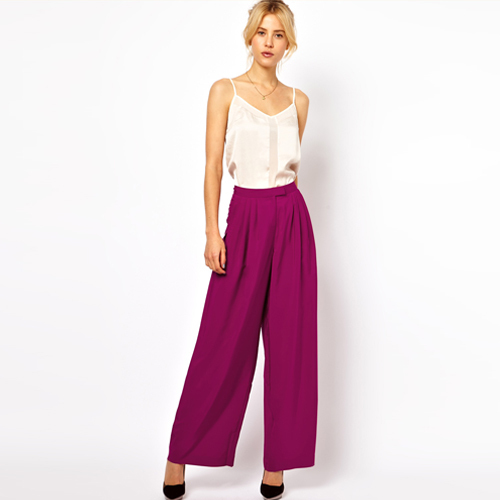 Free shipping women pants fashion casual flat loose chiffon pleated lightweight high waist wide leg pants trousers D053-inPants & Capris from Apparel & Accessories on Aliexpress.com