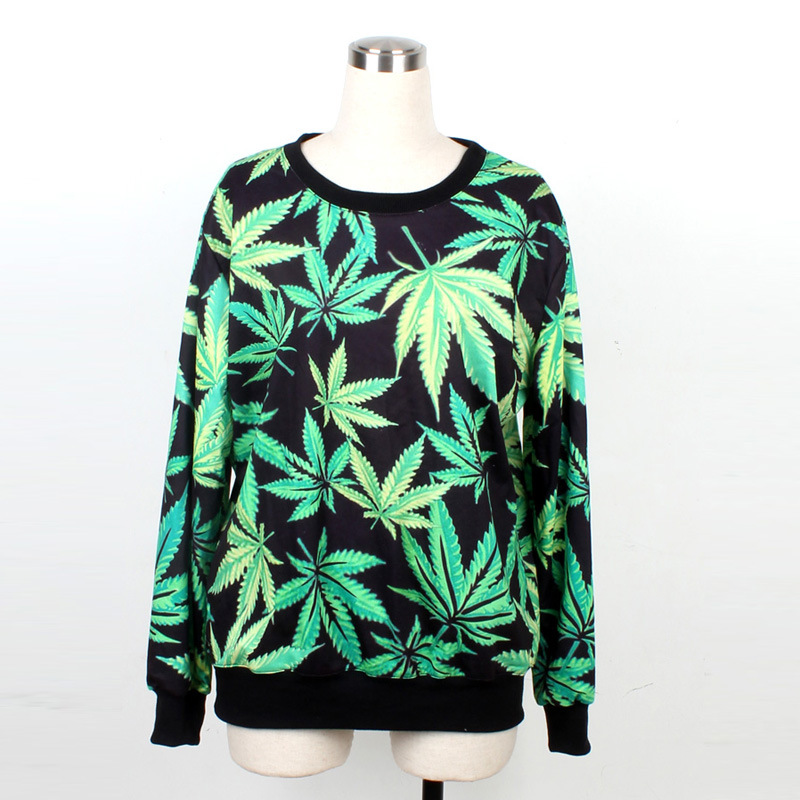 women New spot esserteauiana marijuana style couple loose round neck sweatshirt design WY 1008 casual wear-in Hoodies & Sweatshirts from Apparel & Accessories on Aliexpress.com
