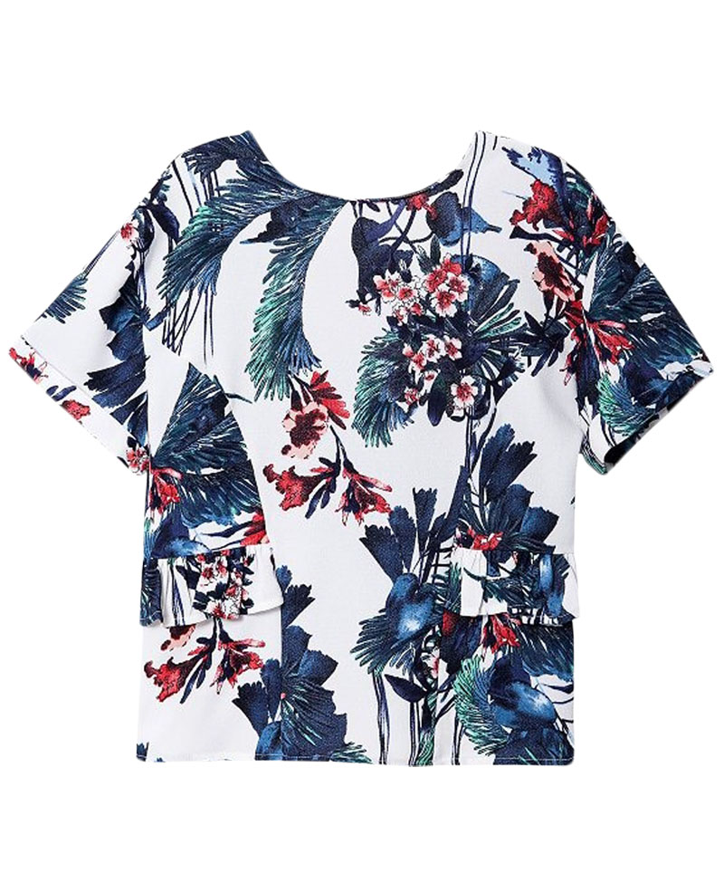 Short-sleeved Plants-printed V-back T-shirt | BlackFive