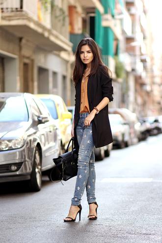 fake leather blogger jacket jeans bag jewels