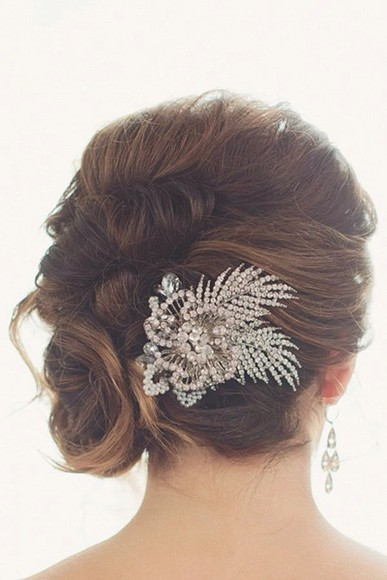 jewels feather silver bridal hair comb rhinestones flowers