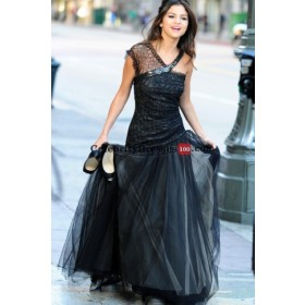 Selena Gomez Black Dress in Who Says Replica For Less Long Formal Celebrity Evening Gowns