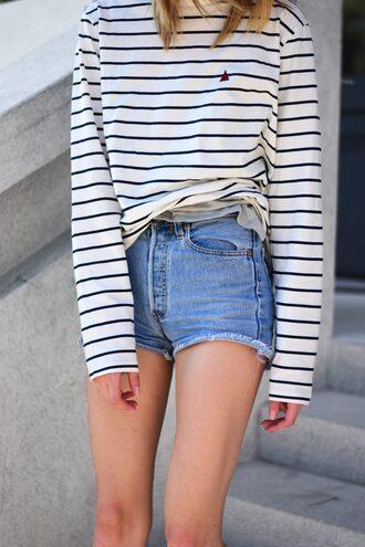 shorts tumblr denim denim shorts top stripes striped top long sleeves