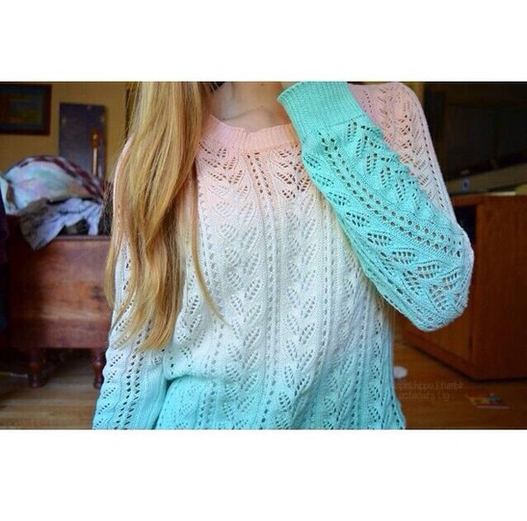 sweater white sweater colorful pink sweater light blue sweater