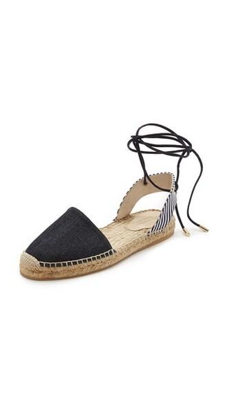 denim dark flats shoes