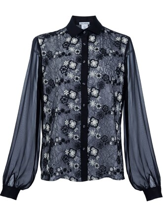 shirt lace shirt lace floral black top