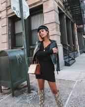 dress,mini dress,black dress,v neck dress,knitted dress,jacket,black jacket,biker jacket,leather jacket,knee high boots,snake print,handbag,crocodile,fisherman cap