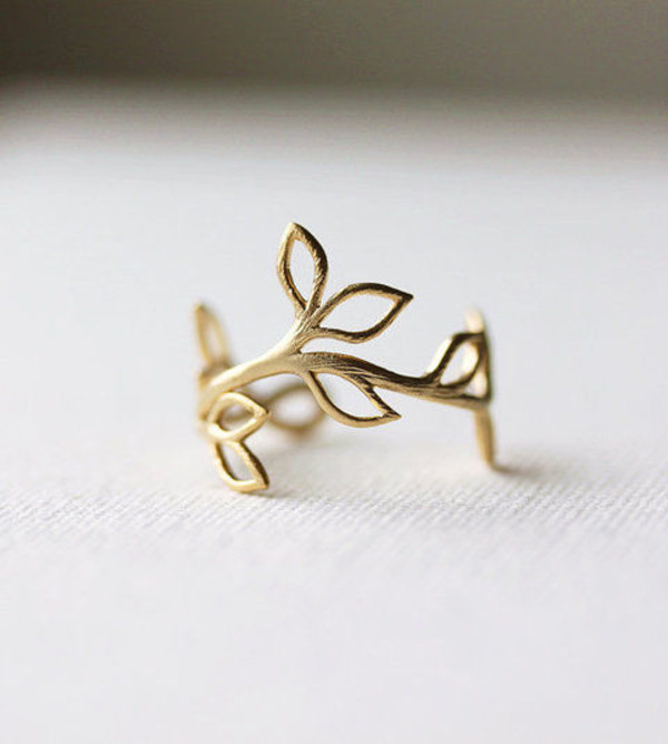jewels ring gold leaves pretty cute nature leaf ring rings pretty