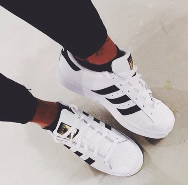 shoes, adidas, gold, black, adidas shoes, stripes, adidas superstars, white, fancy, amazing, love, superstar, adidas superstars, adidas shoes white - ...