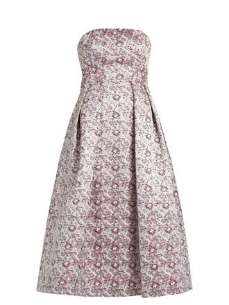 dress strapless jacquard satin pink