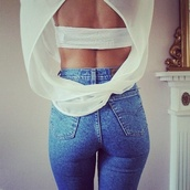 open back,white top,see through,mesh top,high waisted jeans,skinny jeans,shirt,t-shirt,style,jeans