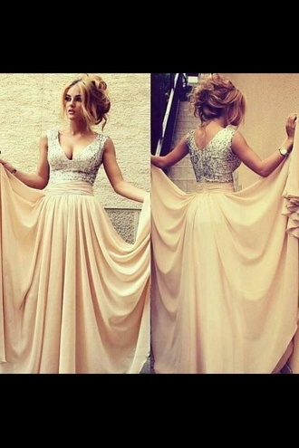 dress prom dress clothes designers long prom dress cream silver sequin