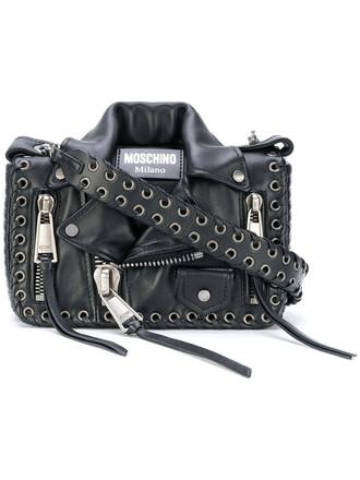 women bag leather black eyelet detail
