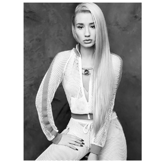 jacket white tracksuit perforated details sports luxe sporty iggy azalea designer pants