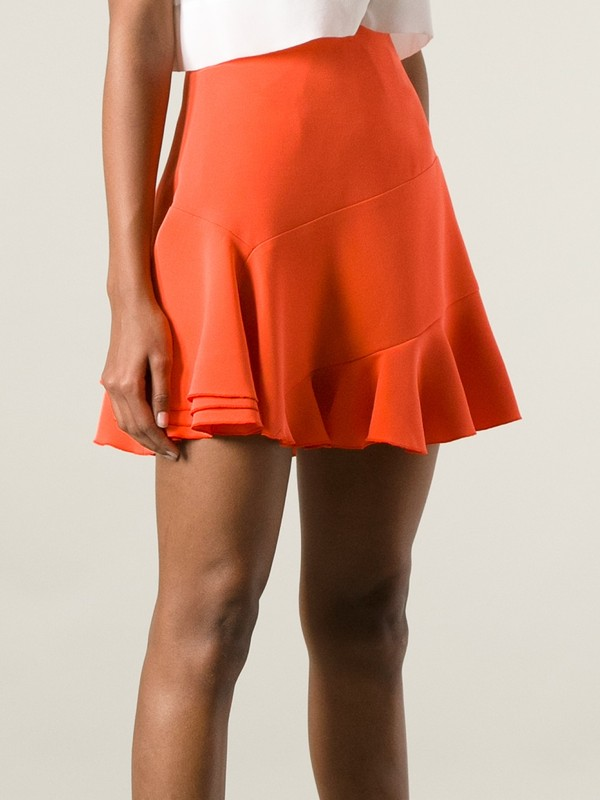 skirt victoria beckham flare orange skirt