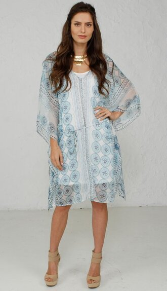 dress angl teal tunic butterfly beach ootd gold choker necklace boho style fashion girly cute bohemian light blue oversized sheer