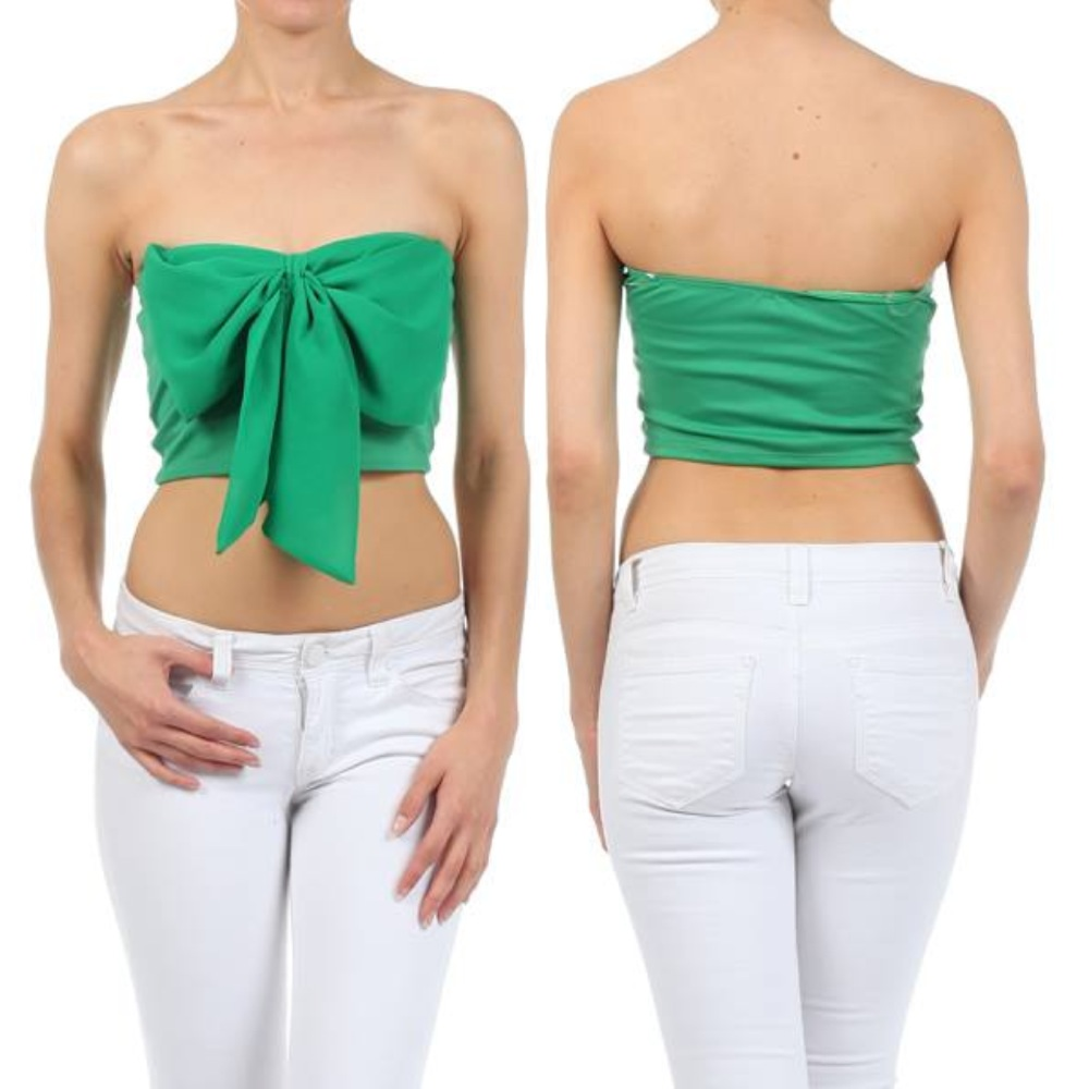 Crop Top Green Bow Chiffon Strapless Tube Sweetheart