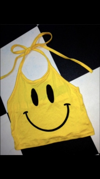 top yellow smiley halter neck