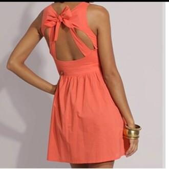 dress peach dress bow back dress cut-out dress bow pink open back