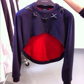 sweater,givenchy,shrug,top,shirt,jumper,cropped,midriff,black,haute couture,crop tops,sweatshirt,crop top sweater,sweater crop top,crop tops embrodering