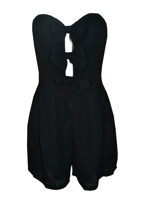 Outletpad | Bow-ed Move Strapless Romper Jumpsuit Black | Online Store Powered by Storenvy
