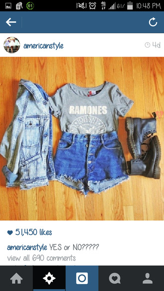 jeans denim shorts high waisted shorts combat boots t-shirt jacket denim jacket cute ramones khaki swag