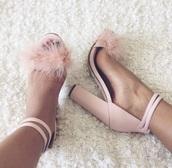 shoes,heels,pink,high heels,pumps,sandals,high heel sandals,baby pink high heels,pastel pink,fluffy,pink heel