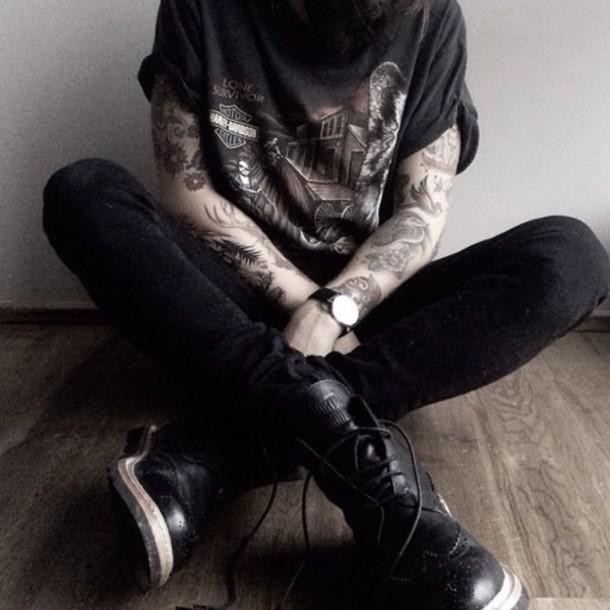 shoes grunge black jeans combat boots harley davidson