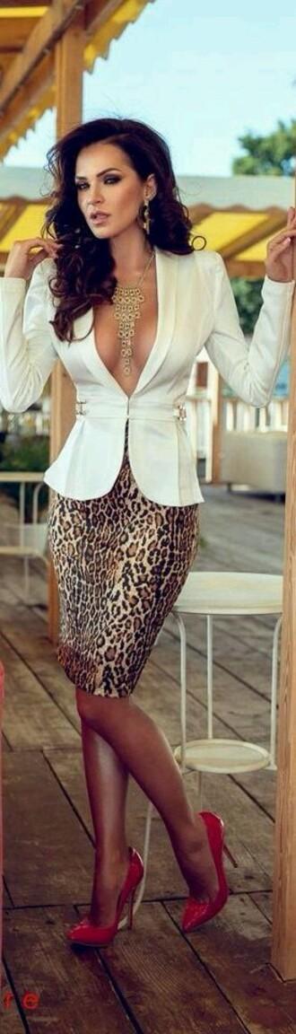 skirt animal leopard print sexy pencil skirt animal print style fashion blouse jacket jewels