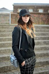 bag,blue bag,shoulder bag,top,black cap,cap,blazer,black blazer,black top,checkered pants,pants,streetstyle,embellished bag