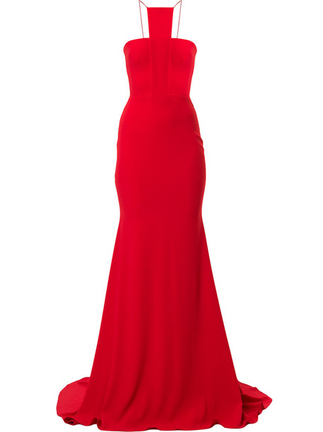 Alex Perry gown long women draped red dress