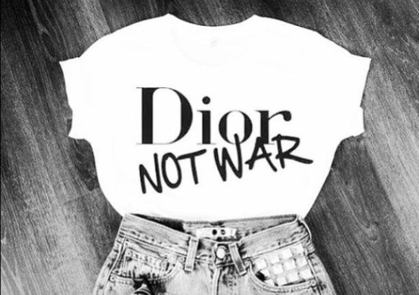 t-shirt, dior, christian dior, dior not war, white - Wheretoget 731170f52e58