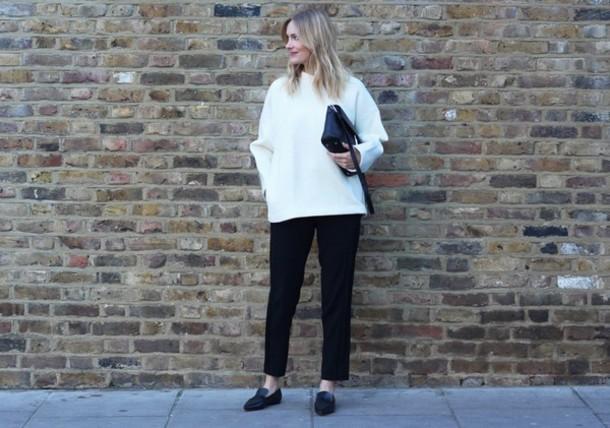 blame it on fashion blogger oversized sweater black pants boyish