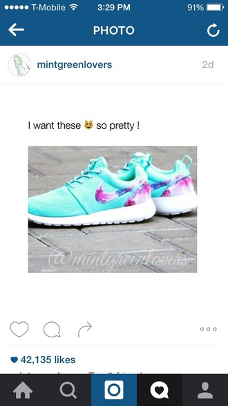 shoes mint nike galaxy print