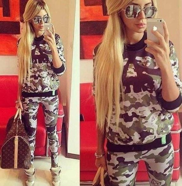 sweater camouflage sunglasses