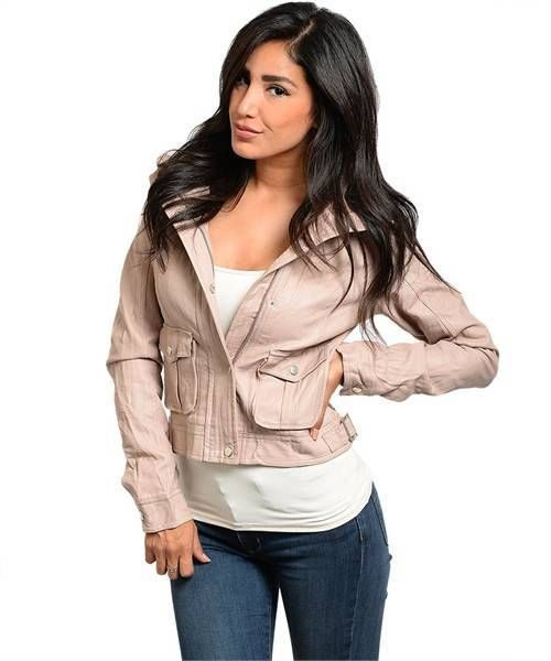 Blush Peach faux leather jacket bomber style look zipped front closure button