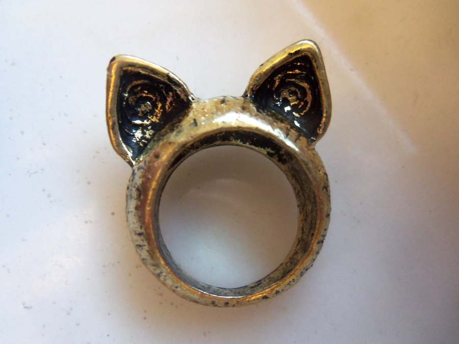 Cat Ears Ring Size 6 5 Unique Feline Jewelry Gold Band New 6 1 2 Kitty | eBay