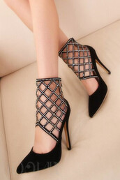 shoes,rhinestones,embellished,hollow out,women,stilettos,heels,pumps,black stilettos,party shoes